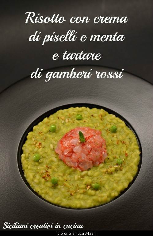 Risotto with mint peas and shrimp tartare