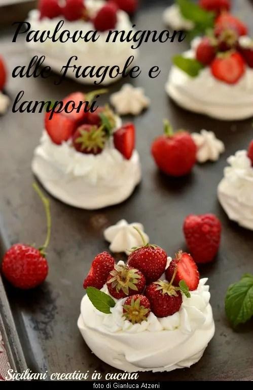 Pavlova with strawberries and raspberries