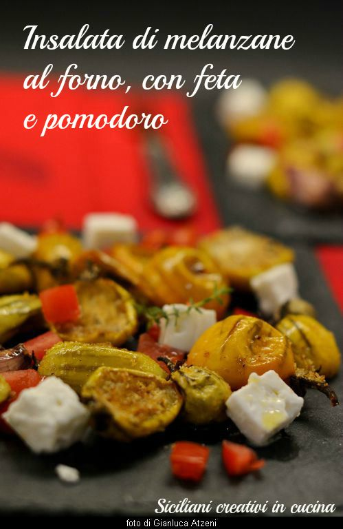 Eggplant salad with baked feta
