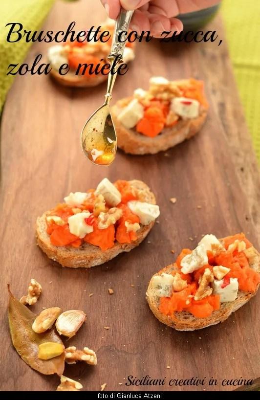 Bruschette con zucca, gorgonzola, noci e miele: facili e sfiziose
