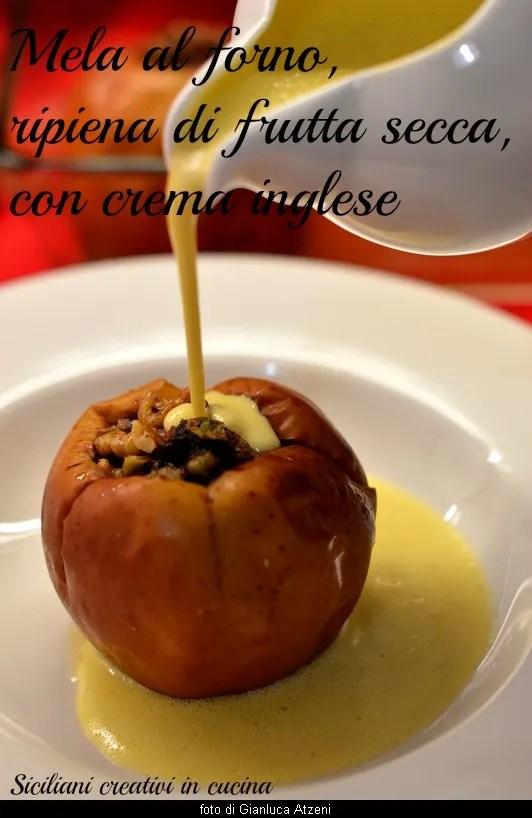 Manzanas al horno rellenas de frutos secos, con crema inglesa