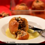Baked apples with crème anglaise