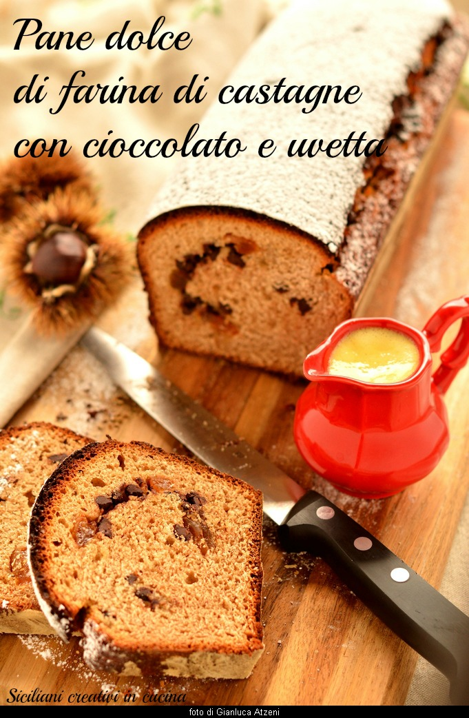 Sweet bread with chestnut flour, chocolate and raisins
