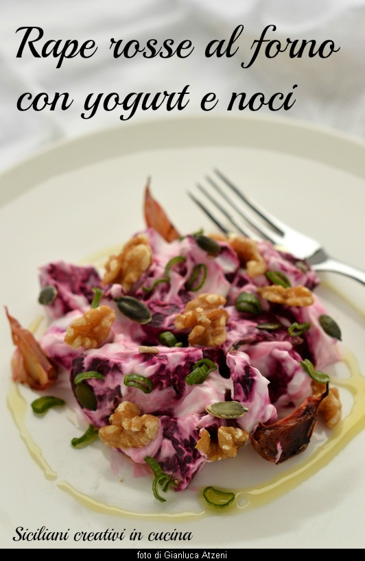 Salad of beetroot baked with yogurt