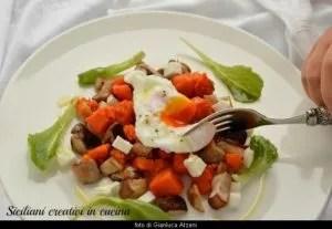 Zucca arrosto, funghi porcini e uova pochè