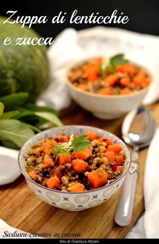 Zuppa di lenticchie farro e zucca rossa