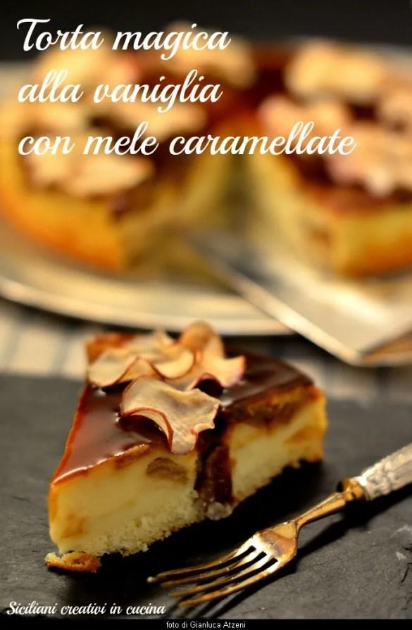 Trois consistances avec un mélange unique et beaucoup de pommes caramélisées dans le gâteau à la vanille magique