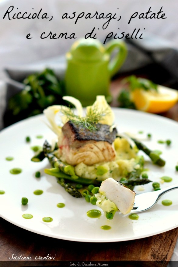 Grilled amberjack with asparagus, potatoes and peas. A second light and elegant fish.