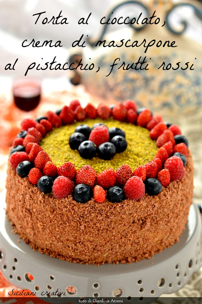 Chocolate cake with mascarpone cream with pistachio and red fruits