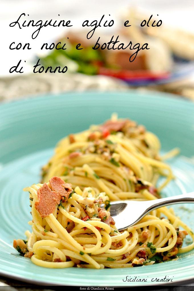 Spaghetti aglio e olio with walnuts and tuna bottarga