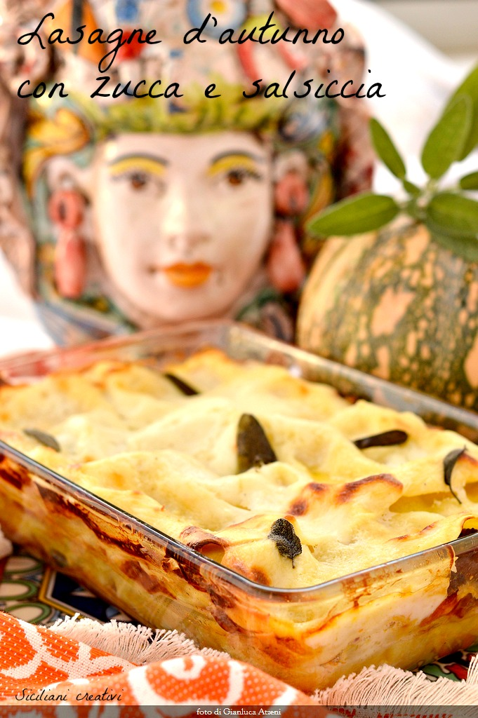 Autumn lasagna with pumpkin and sausage