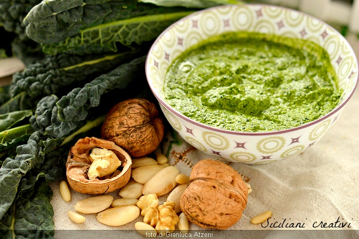 Raw kale pesto with walnuts, almonds and pine nuts