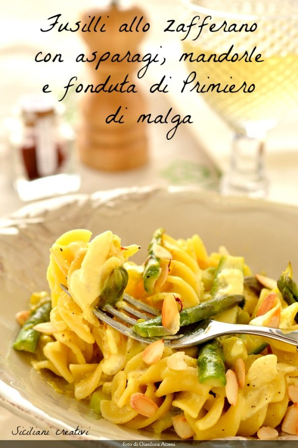 Saffron Fusilli with asparagus, almonds and chocolate fondue