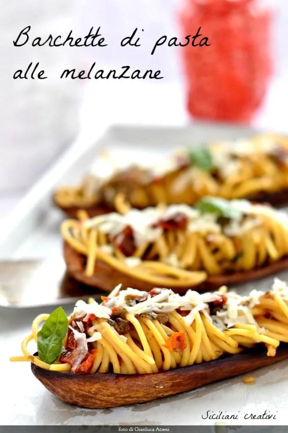 Barchette di pasta con le melanzane alla siciliana