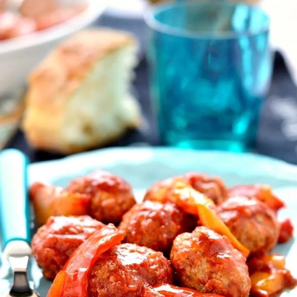 Polpette con i peperoni in agrodolce alla siciliana
