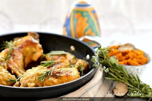 Pollo agglassato (in umido), con purea di zucca e tartufo