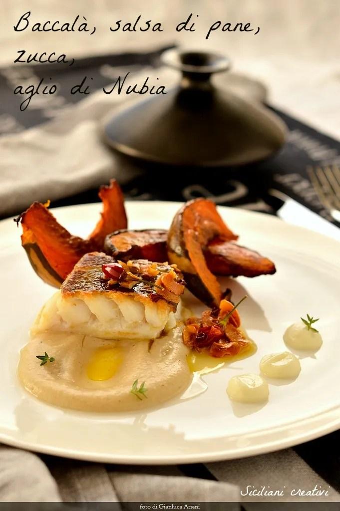Salt cod on bread sauce, pumpkin and garlic of Nubia