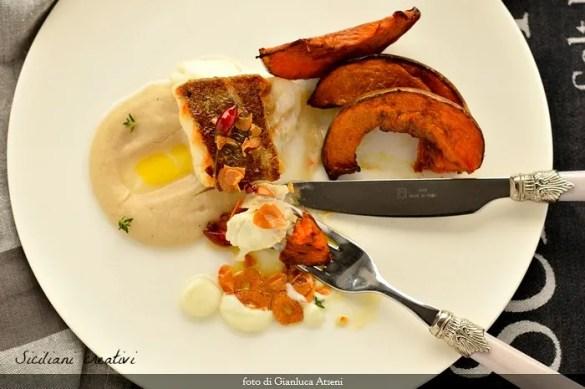 Baccalà aglio olio e peperoncino su salsa di pane, zucca e aglio di Nubia