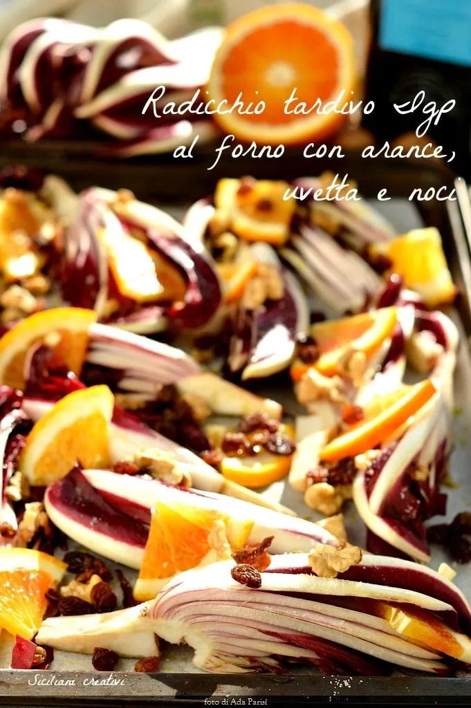 PGI salade de chicorée cuite avec des oranges, noix et raisins secs