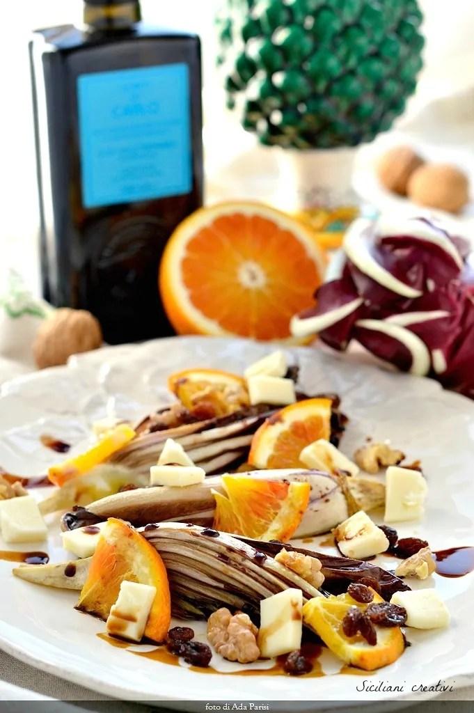 Insalata tiepida di radicchio Igp al forno con arance, noci e uvetta