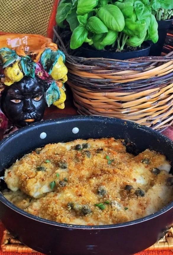 Pesce spatola gratinato alla siciliana