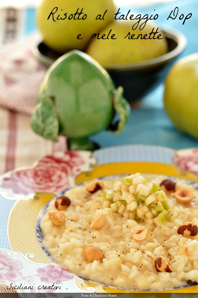 Risotto with Taleggio Dop and rennet apples: easy and creamy
