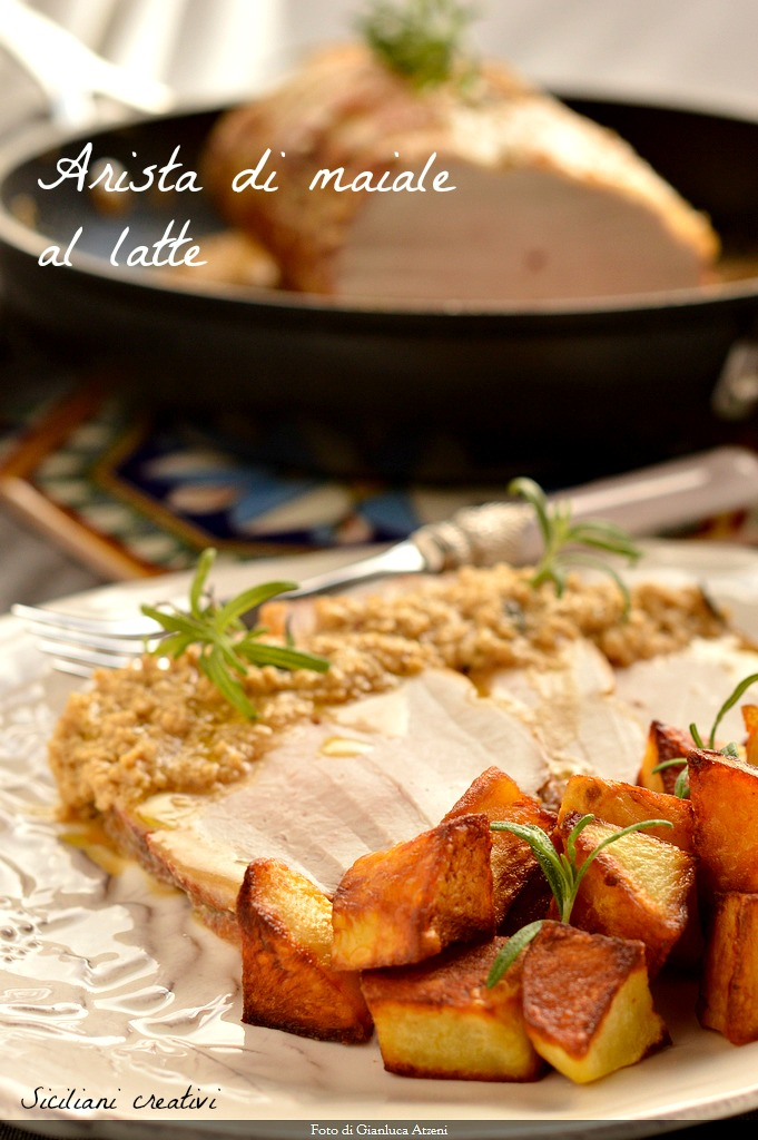 Pork loin with milk and rosemary potatoes