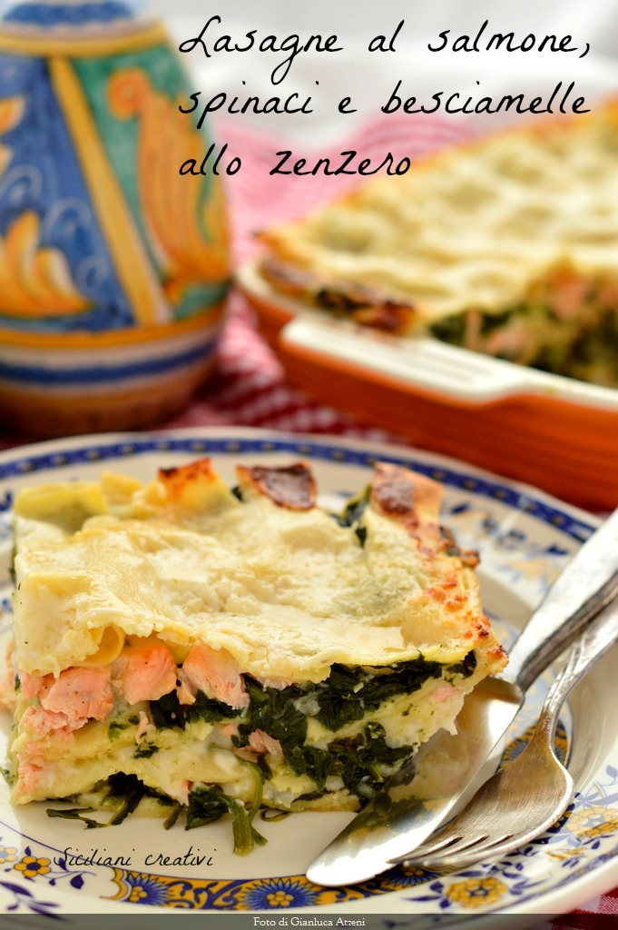White salmon and spinach lasagna