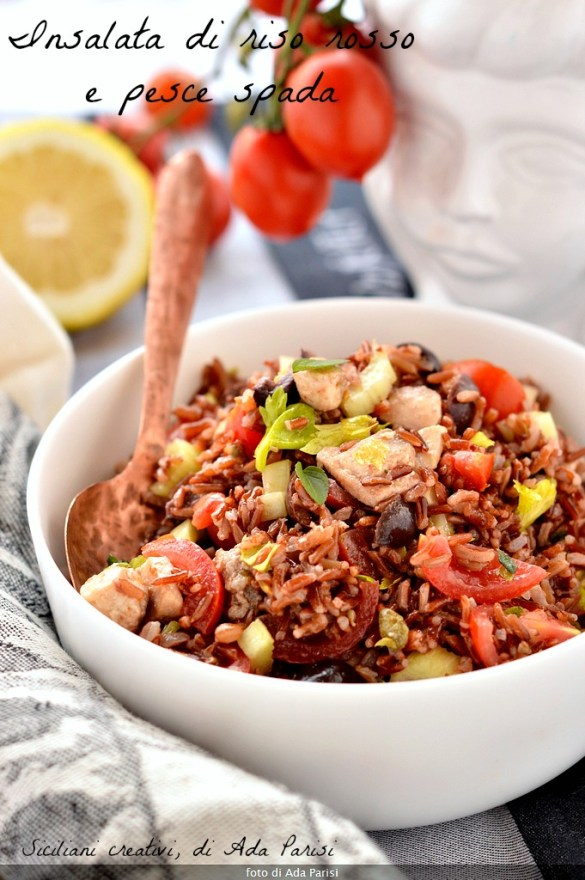 Red rice salad with swordfish, celery and tomato