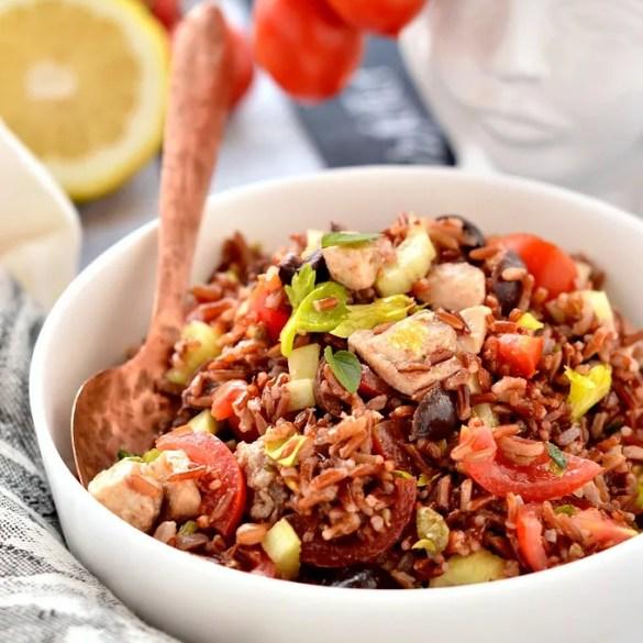 Insalata di riso rosso e pesce spada