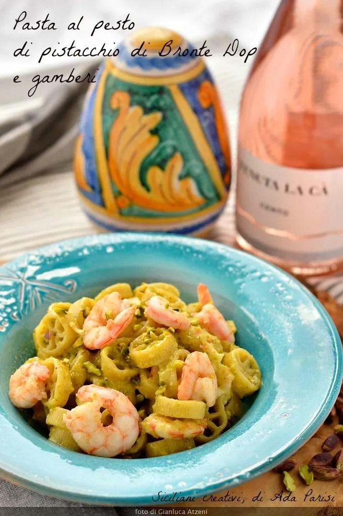 Pasta with pistachio pesto and shrimp