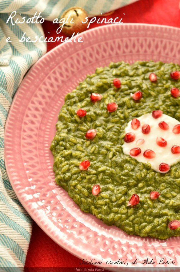 Spinach risotto, béchamel and pomegranate