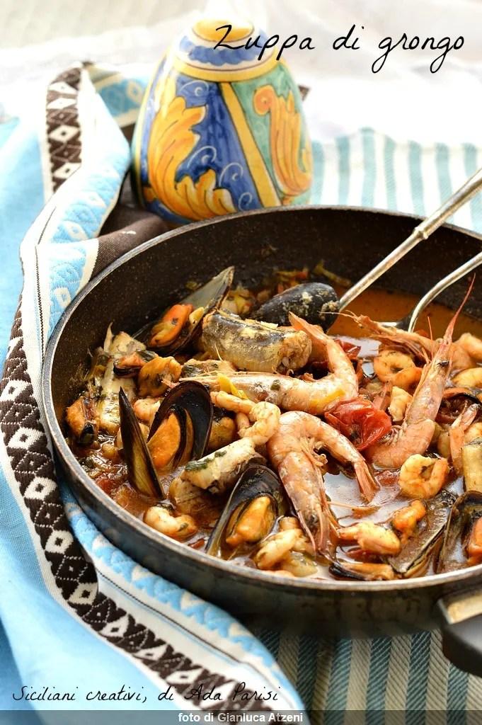 Fischsuppe mit Grongo, Muscheln und Garnelen