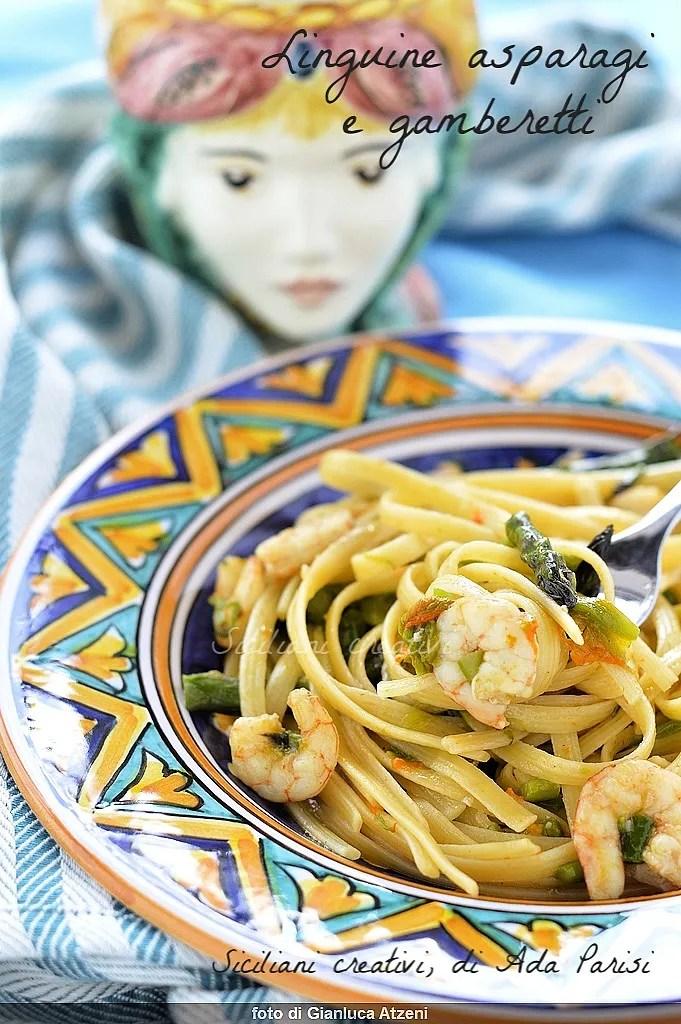 Linguine asparagus and prawns