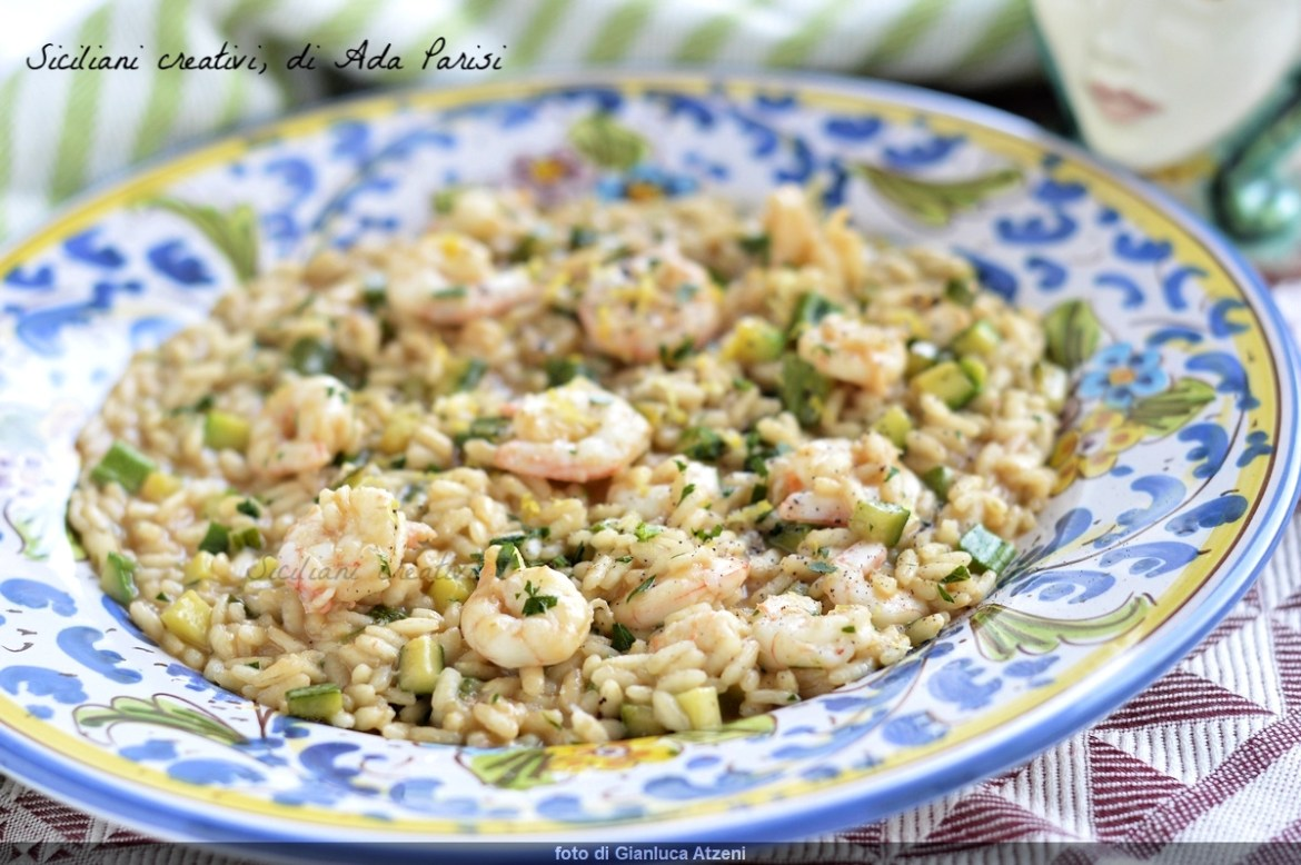 Risotto zucchini and shrimp