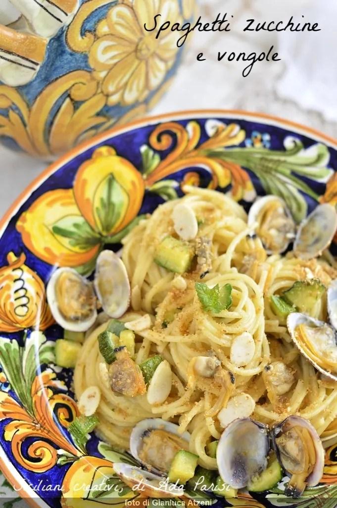 Spaghetti zucchini and clams