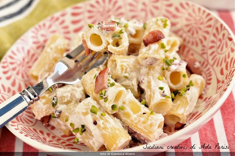 Pasta with mortadella ricotta and pistachio
