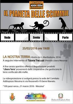"""#Messina. Proiezione de ''La nostra terra"""" al cineforum Addiopizzo"""