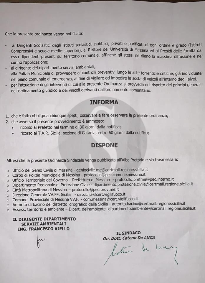 Allerta meteo Messina, chiusi anche domani scuole, università, cimiteri e ville comunali