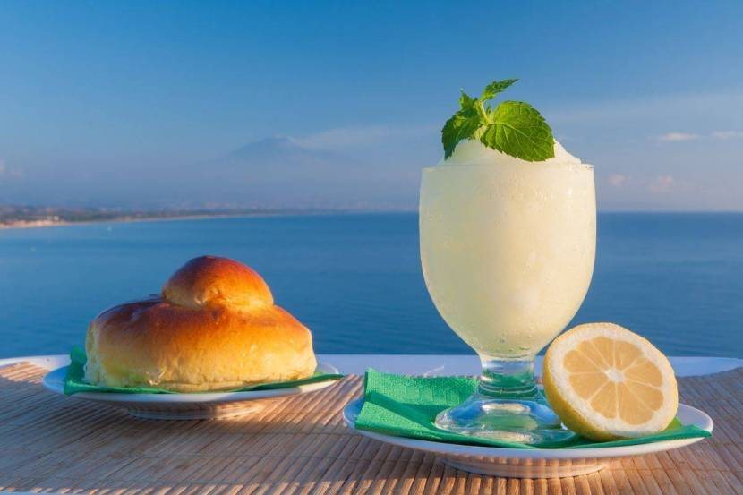 For Sicilian granita the range goes from lemon to coffee which are two classic ones. Sicilians have breakfast at the local bar with a brioche and a granita.