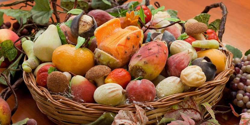 The Sicilian marzipan fruit are highly colored pastries shaped to look like fruis and vegetables. The Erice's production is worth mentioning as the marzipan