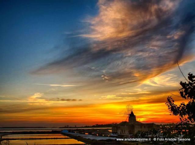 Sunset across the saltpans and windmills