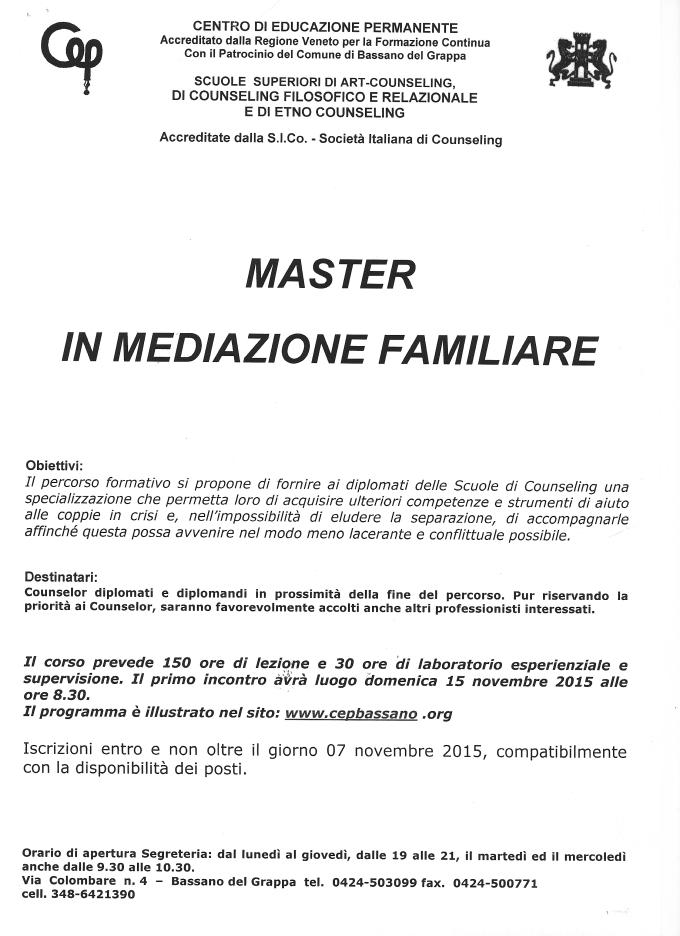 master in mediazione familiare