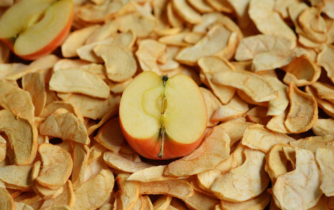 Apfelringe gerocknet
