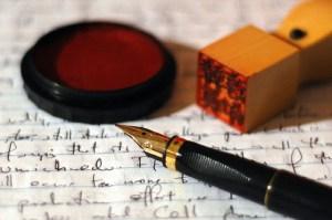 Pen name fountain pen and wax seal