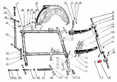 CJ750 parts ::: Chang Jiang750 sidecar spring support felt