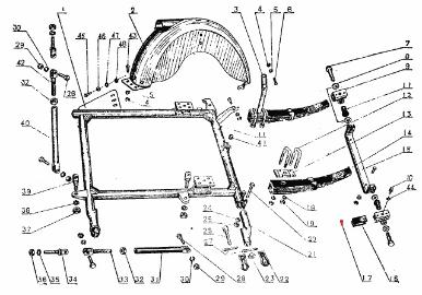 CJ750 parts ::: sidecar spring support mount rivets