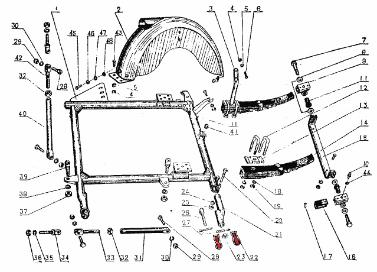 CJ750 parts ::: Chang Jiang750 sidecar mount ball clamps