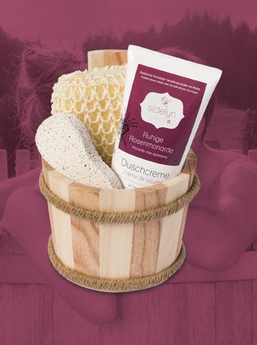 Geschenkset Holzkübel Duschcreme Ruhige Rosenmonarde