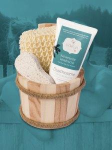 Geschenkset Holzkübel Duschcreme Aktivierende Waldfrische